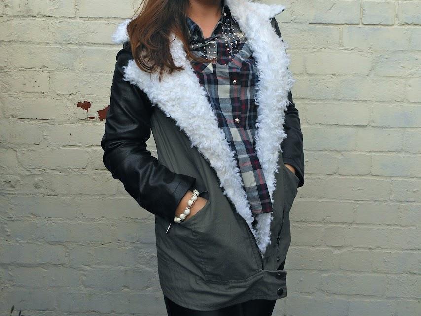Missguided leather Sleeve khaki Jacket blog