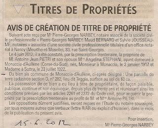 Création titre propriété Pietri