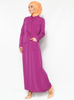 Dress muslim warna polos ungu