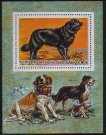 1986年中央アフリカ共和国 ニューファンドランドの切手シート