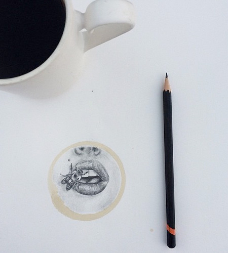Unique Pencil Drawing Art Integrates With Round Stains Of Coffee Mugs
