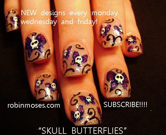 Butterfly Skulls Purple And Pink Skulls Retro Skulls Girlie Skull