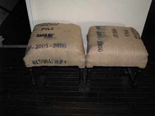 Entry Bench made from Chairs {rainonatinroof.com} #bench #entry #chairs #burlap