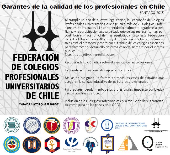 Federación de Colegios Profesionales Universitarios de Chile cumple un año de existencia legal