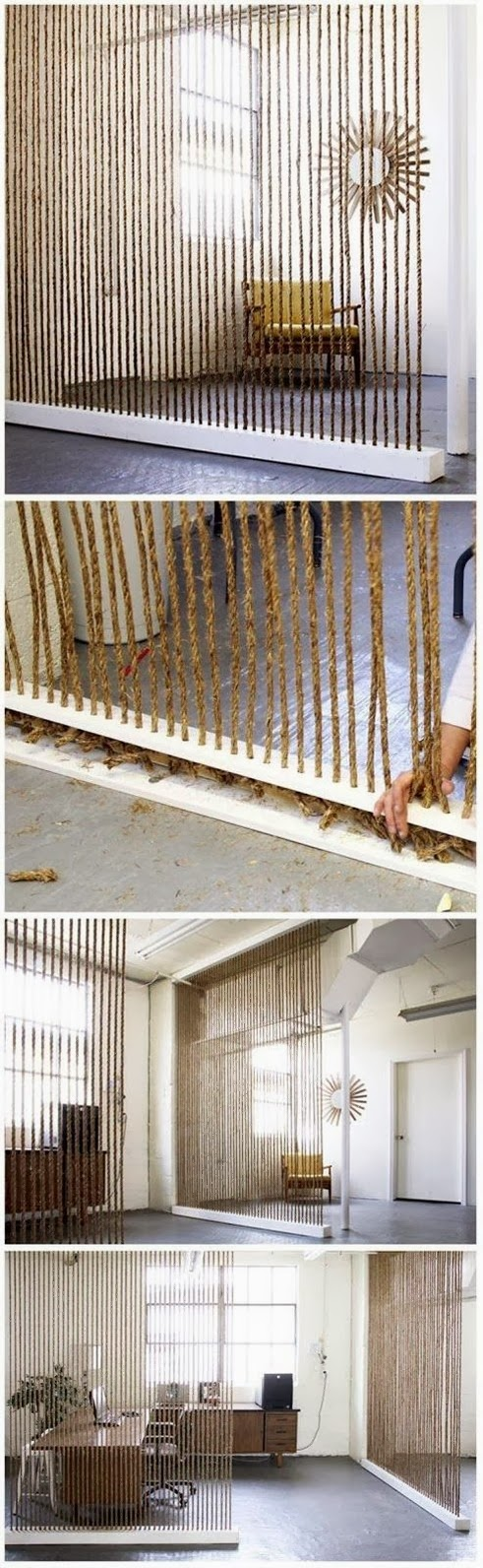 Diy home decor and interior diy rope wall for How to make a rope wall