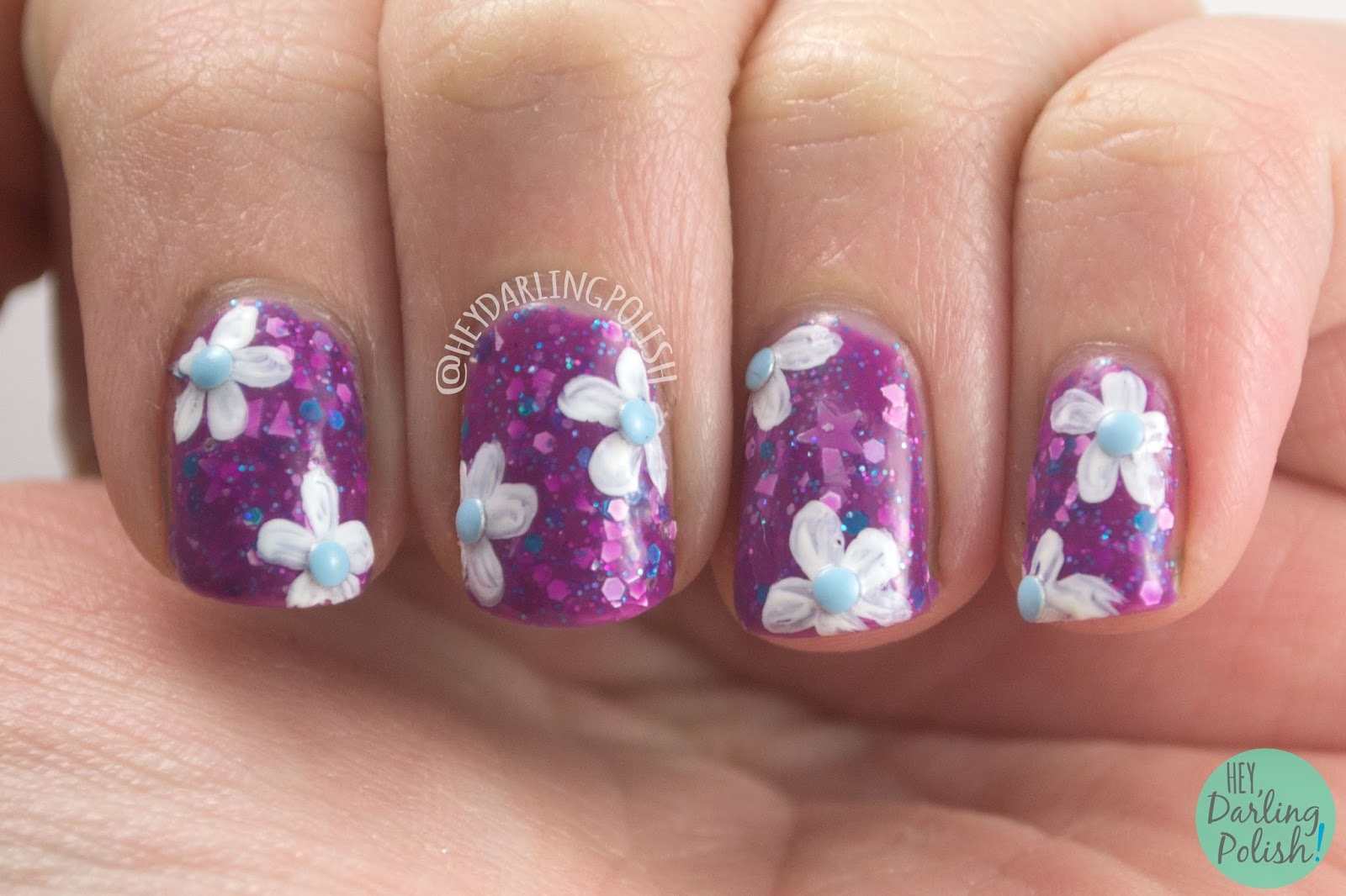 nails, nail polish, indie polish, kbshimmer, hey darling polish, midsummers night, floral, flowers, nail art