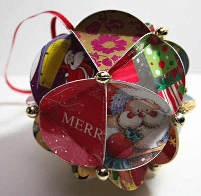 Recycled christmas card ball ornaments recycling center for How to recycle old christmas cards