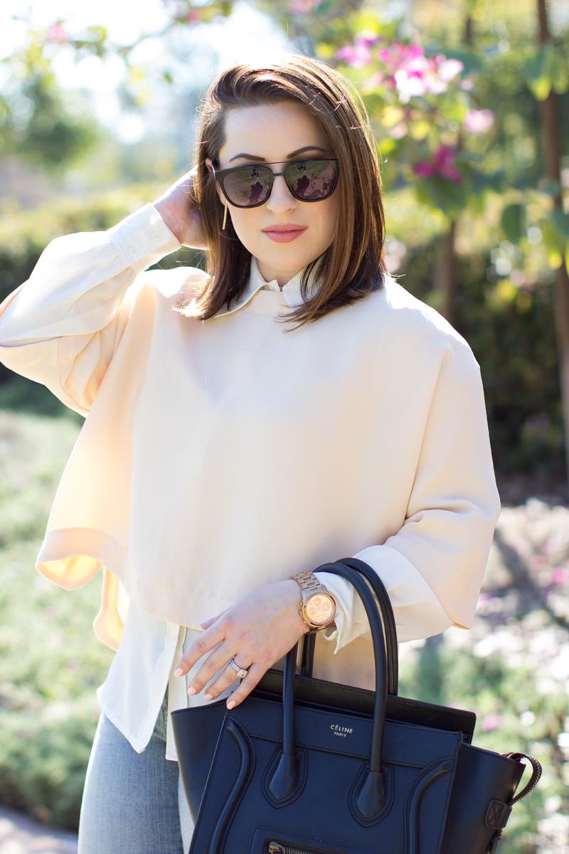 carrera browbar sunglasses, pink kimono sleeve shirt, spring outfit ideas