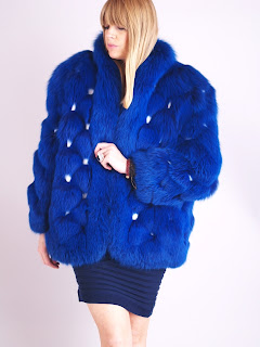 Vintage 1970's fluffy cobalt blue fox fur coat with white leather accents