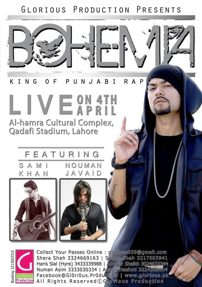 BOHEMIA THE PUNJABI RAPPER LIVE IN LAHORE - APRIL 4TH 2013 VIDEOS DOWNLOAD