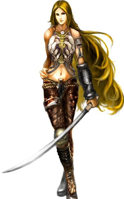 Mulher ninja, mulher com espada, loira samurai, loira com katana