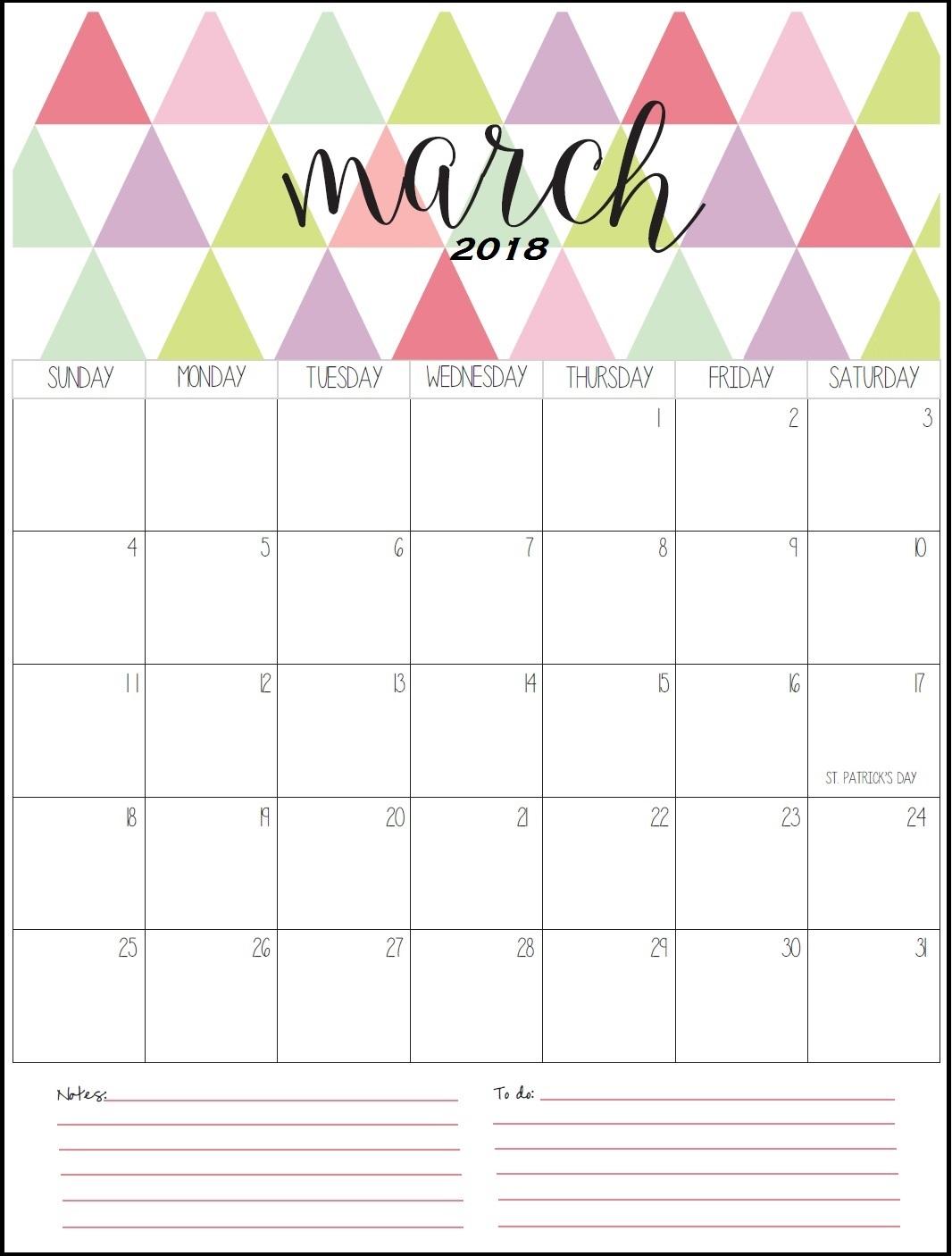 march calendar template 2018