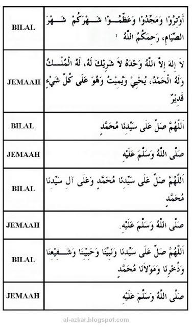 Ramadhan : Bacaan Bilal Sebelum Shalat Witir