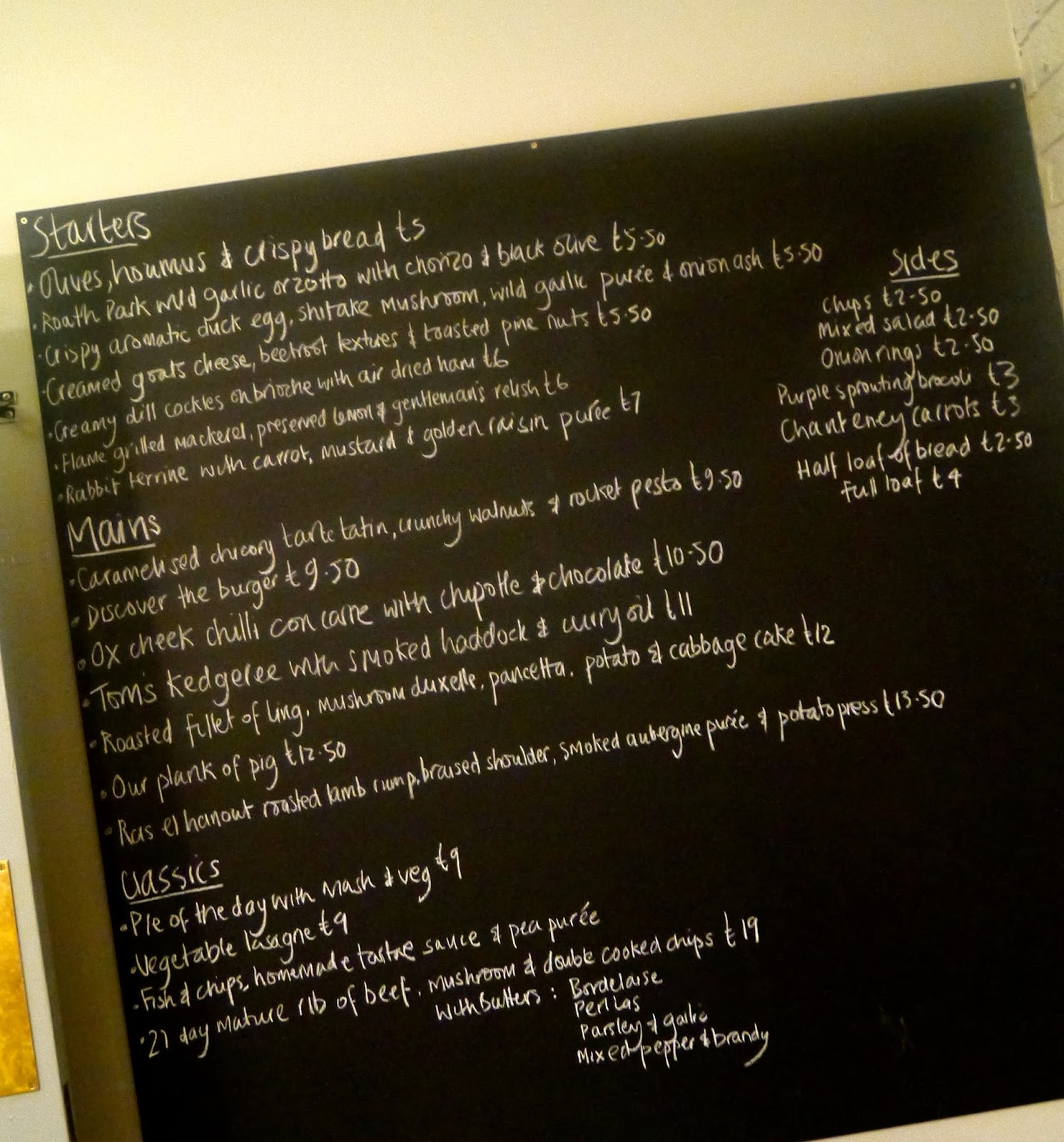 Blackboard menu at The Discovery