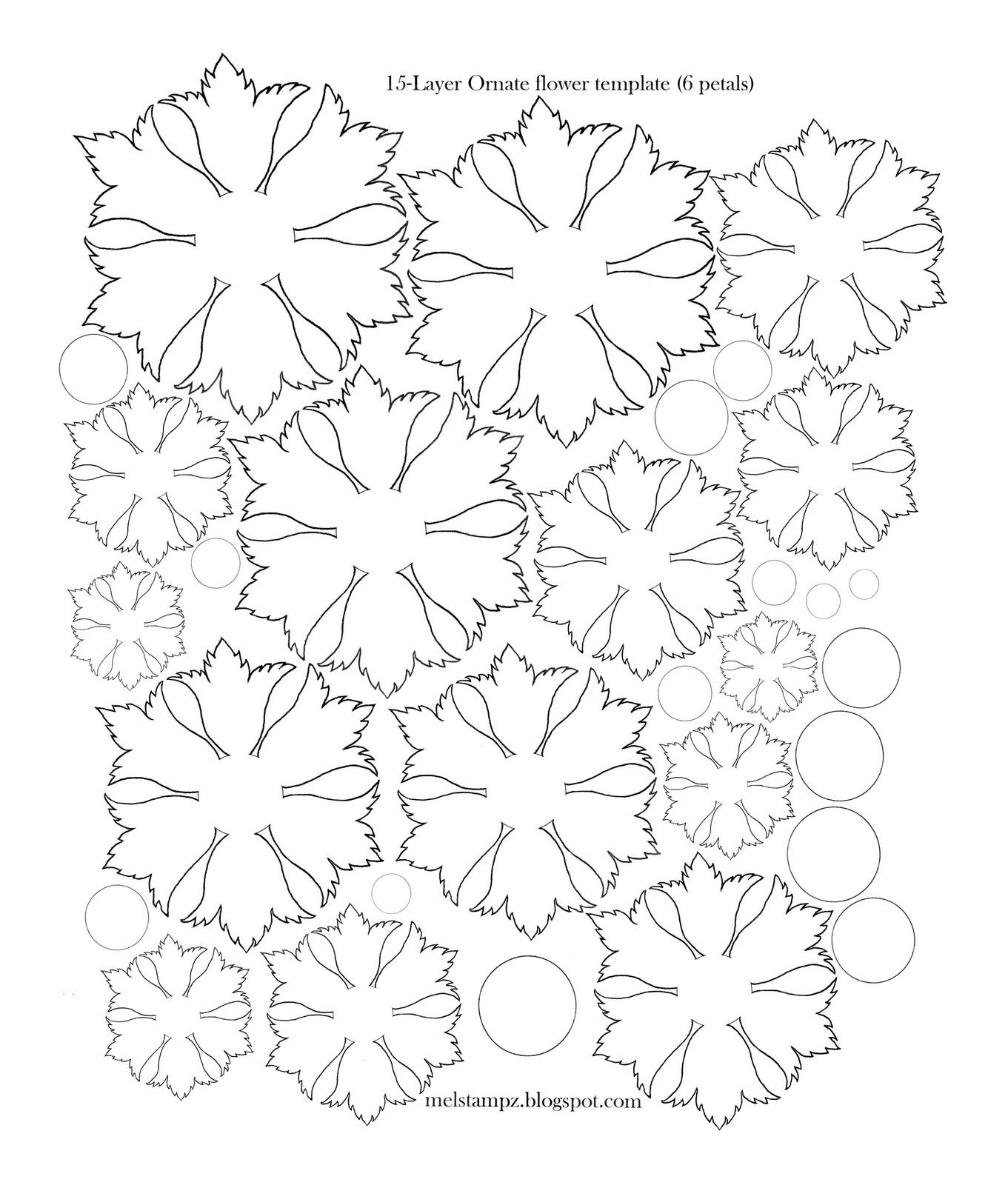Paper flower petal template pattern ornate flower paper flower templates felt flower 6 petals izmirmasajfo