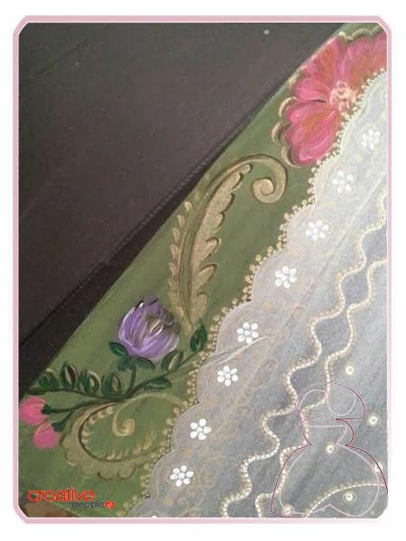 Detalle falda y deltantal fallera en paraguas pintado a mano por Sylvia Lopez Morant