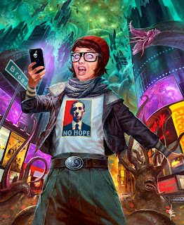 lukas thelin, fenix, kenneth hite, 51 mythos dooms, hp lovecraft mythos, end of the world, horror art, hipster girl
