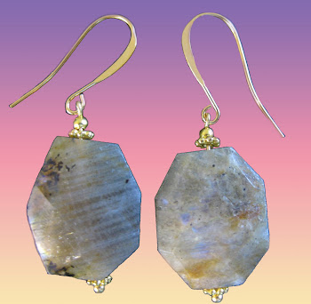 Gray Genuine Labradorite Gemstones Earrings L