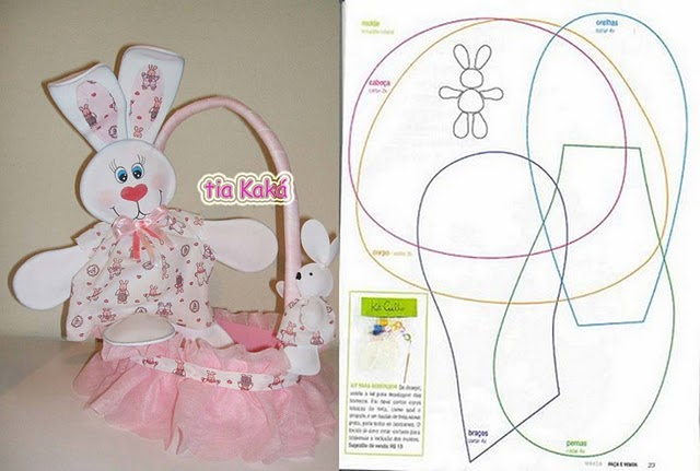 Free canasta para bebe coloring pages for Manualidades de conejos