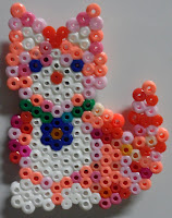 perler, pink, cat, bead, fused, beads, magnet, hama, pssyla