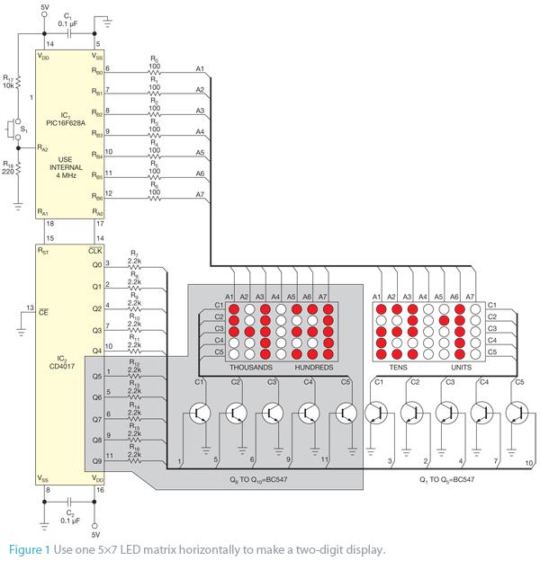 build a led matrix horizontally circuit diagram
