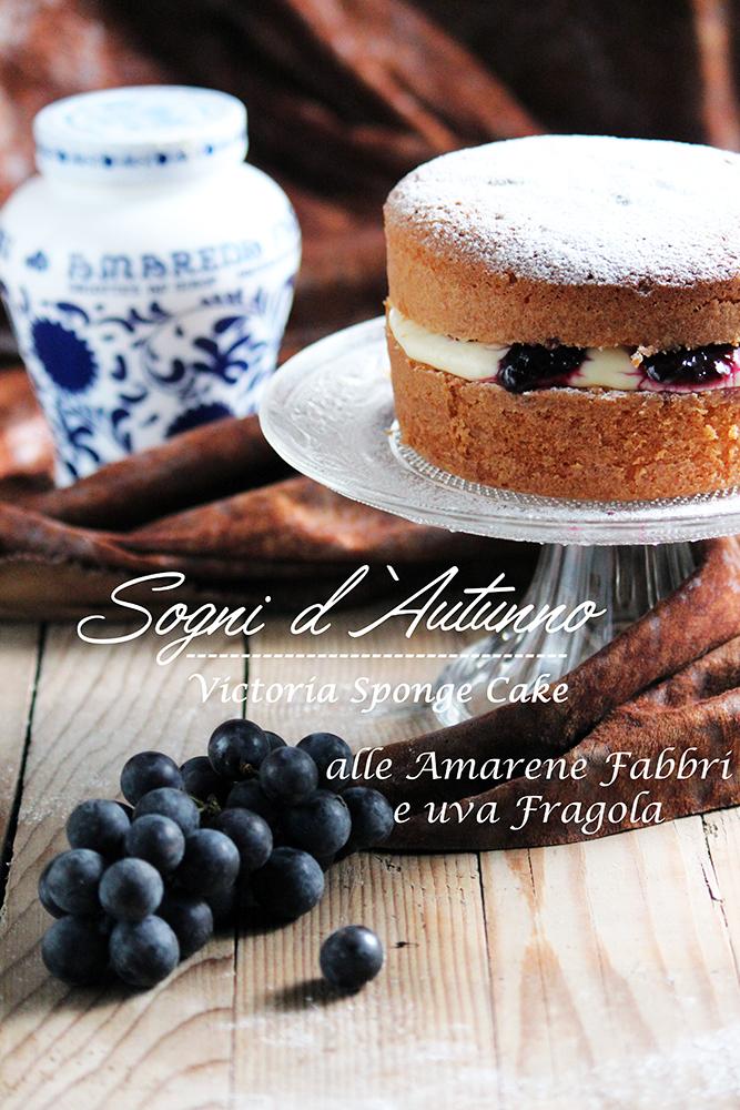 sogni d'autunno. victoria sponge cake alle amarene fabbri e uva fragola