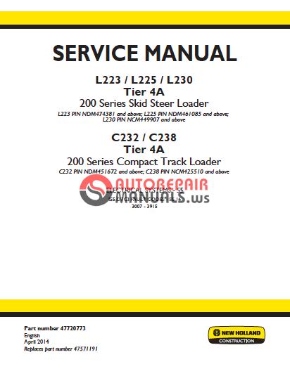 Auto Repair Manuals: NEW HOLLAND SKID STEER L223/L225/L230 COMPACT on