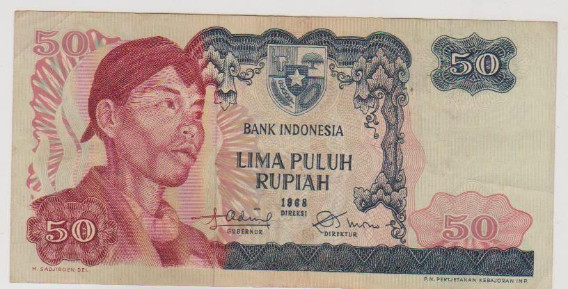 uang kuno Seri Soedirman tahun 1968 Pecahan 50 rupiah
