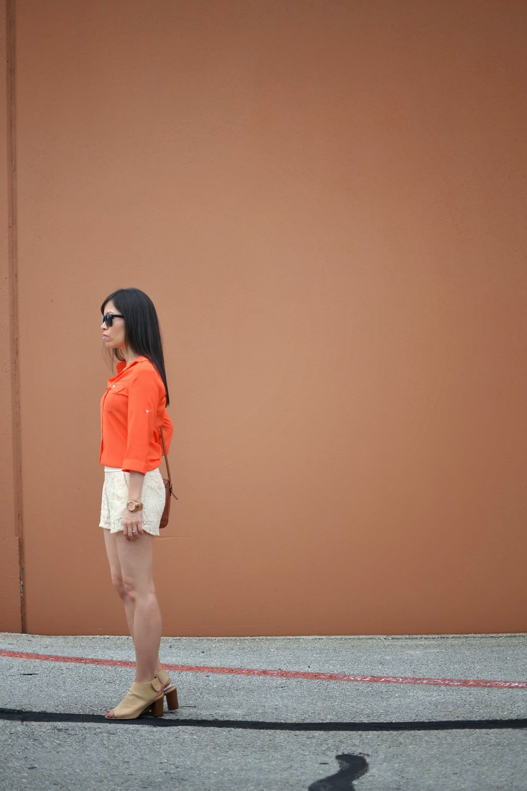 Style and Cappuccino : Creamsicle Look: Orange Blouse & Cream Lace ...