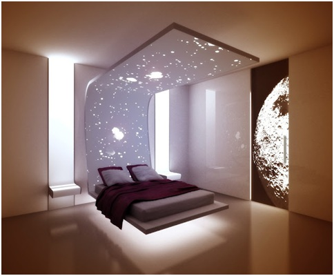 Amazing Floating Bed in a Minimalist Bedroom