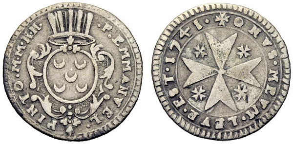 moeda com as armas de D. Manuel Pinto