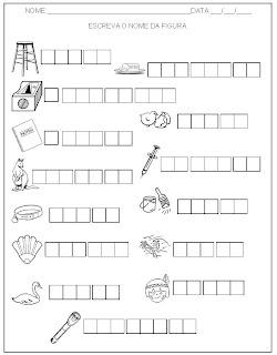Hipótese de escrita alfabética - Alfabetização - Escreva o nome das figuras 2