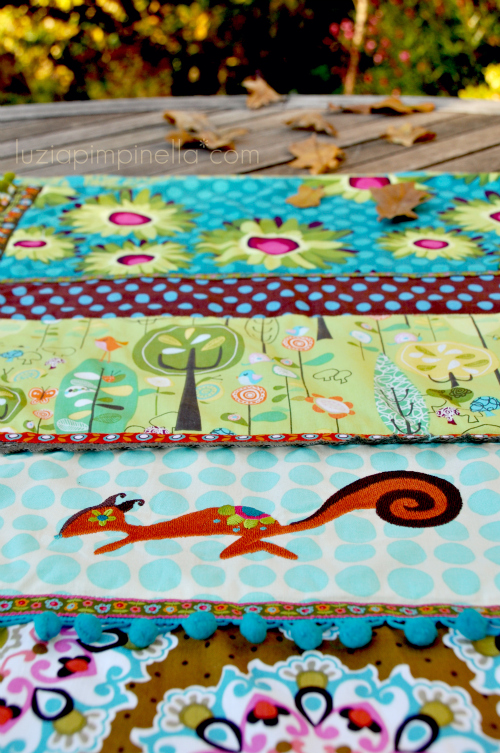 "luzia pimpinella BLOG | DIY | bunte genähte patchwork decke mit baum- und eichhörnchen stickmotiven | colorful handmade with ""treehugger"" and chipmunk embroidery"