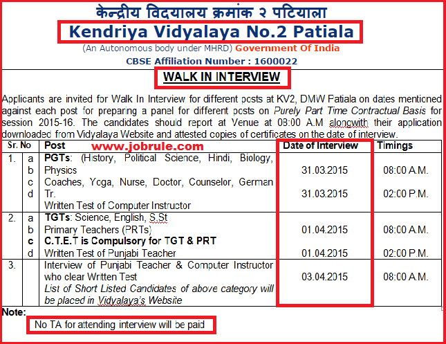 Patiala Kendriya Vidyalaya No-2 Latest Contract Basis Job Advertisement March 2015 | Walk-In-Interview