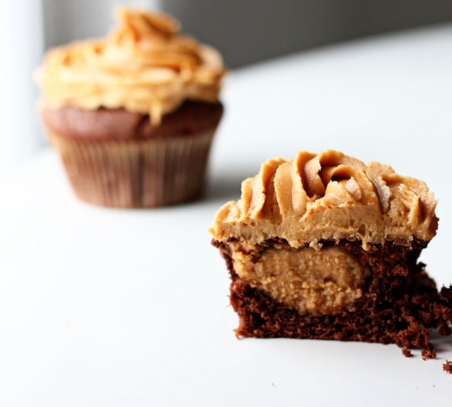 peanut butter cup filled cupcakes
