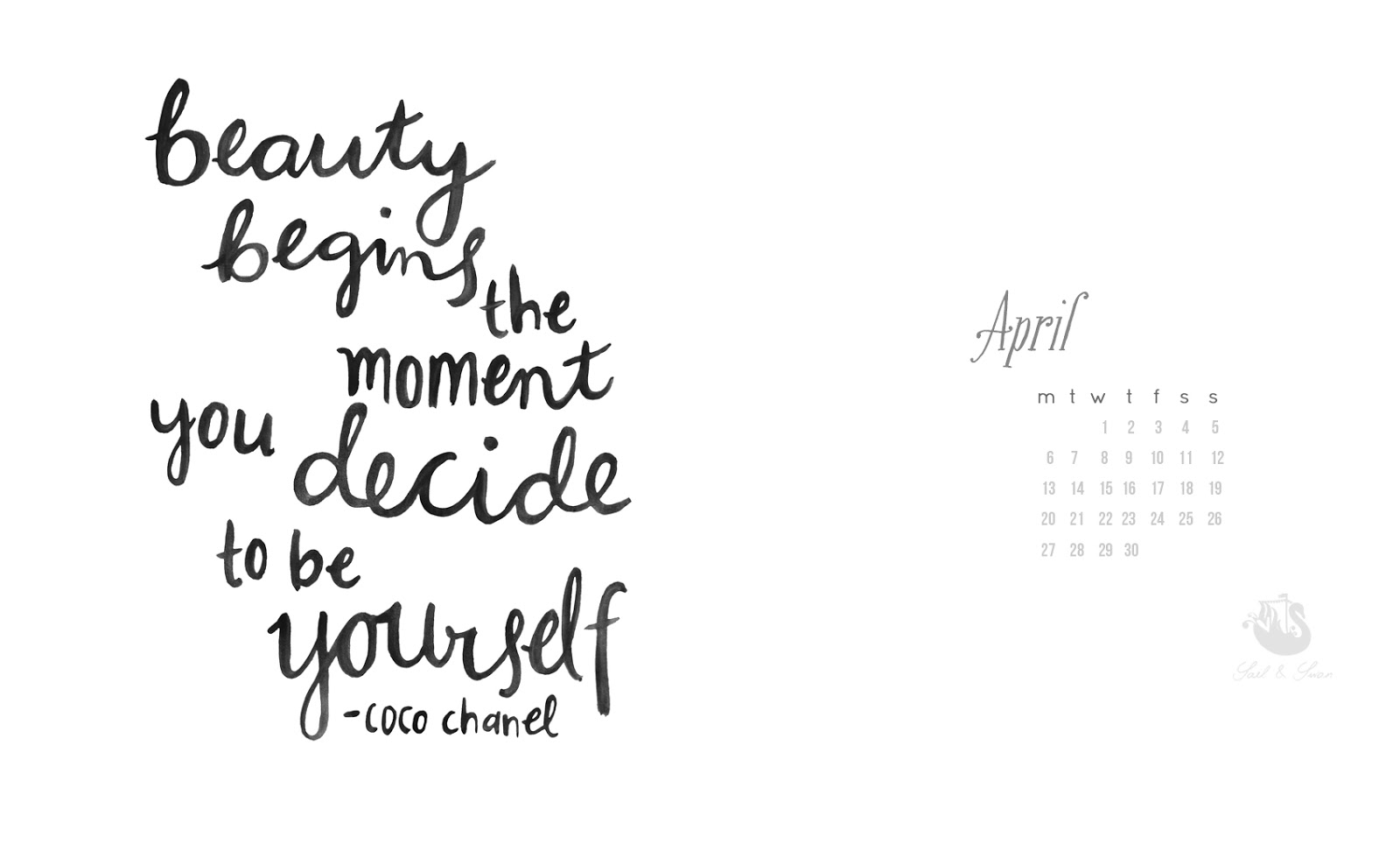 Free Brush Script Desktop Background wallpaper Sail and Swan Chanel quote inspirational design art blog artist