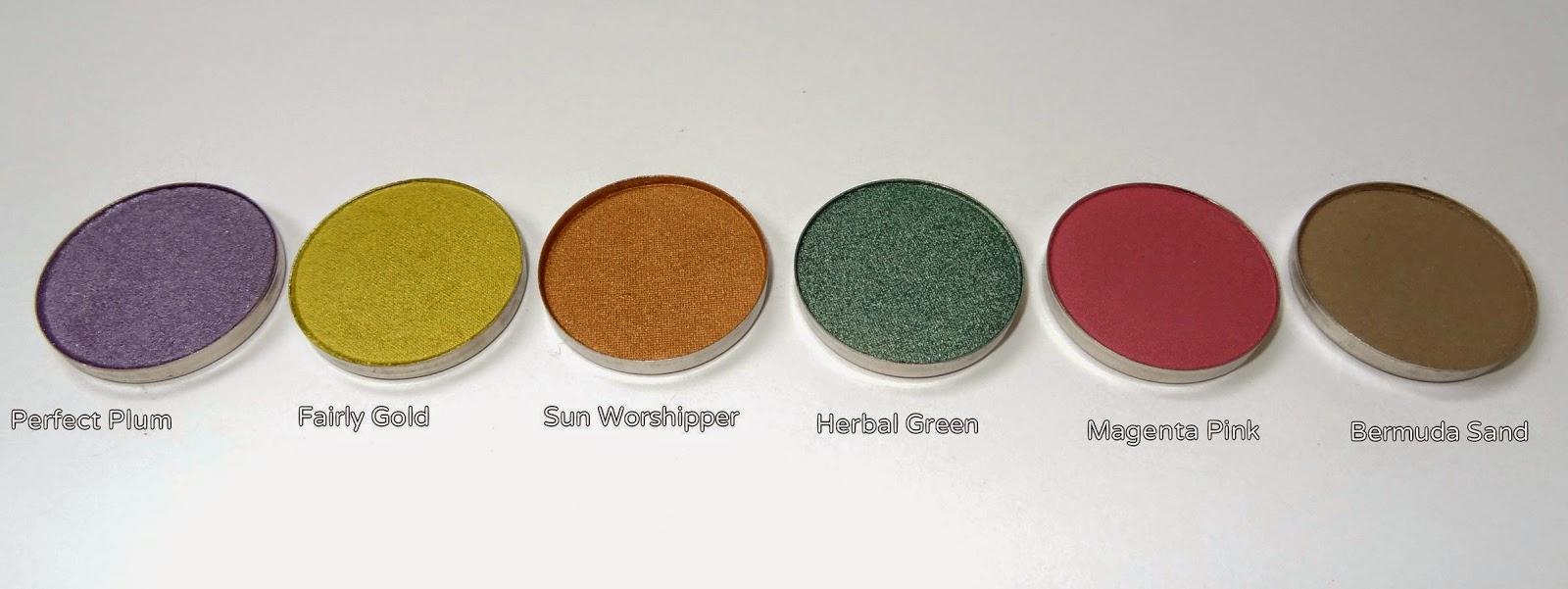 coastal scents hot pots haul perfect plum,fairy gold,sunworshipper,herbal green,magenta pink,bermuda sand