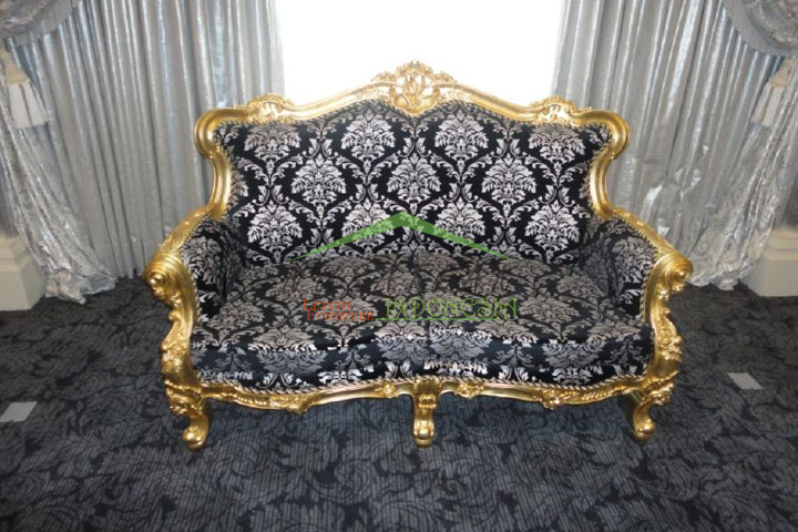 Widhi Gold Leaf Baroque Sofa with Floral Fabric