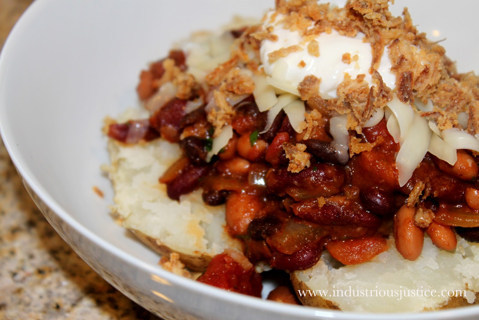 three bean chili w baked potato our three bean chili leftovers are ...
