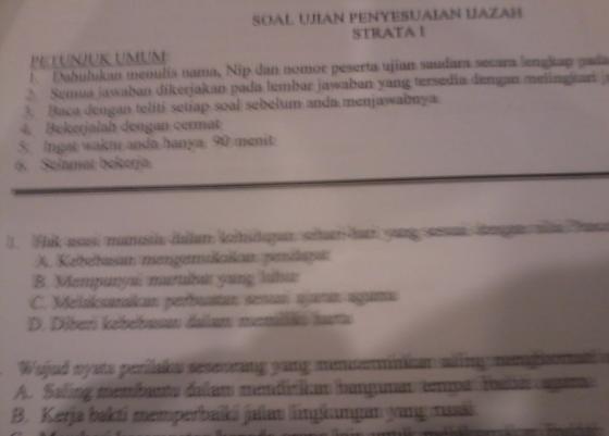 """'soal ujian dinas penyesuaian ijazah 2013"""""""