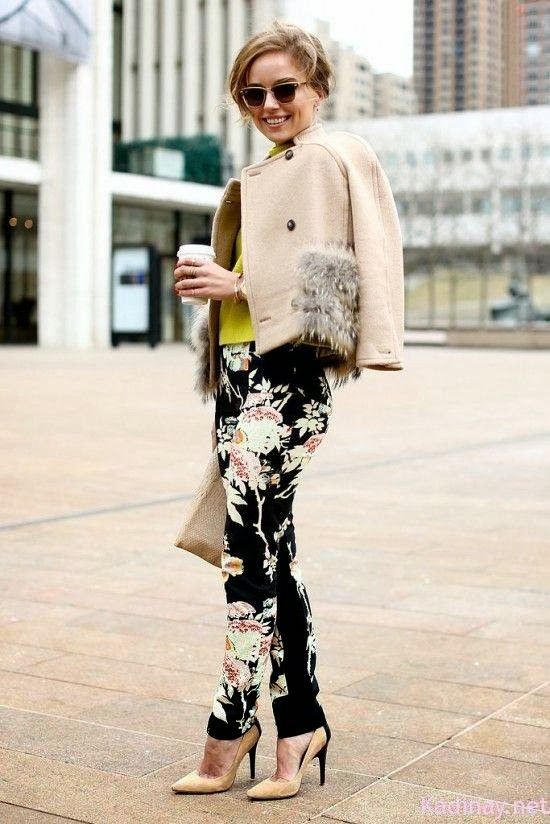 Beautiful Flowery Black Trousers, Nice High-Heeled Shoes, Yellow Blouse and Light Brown Jacket
