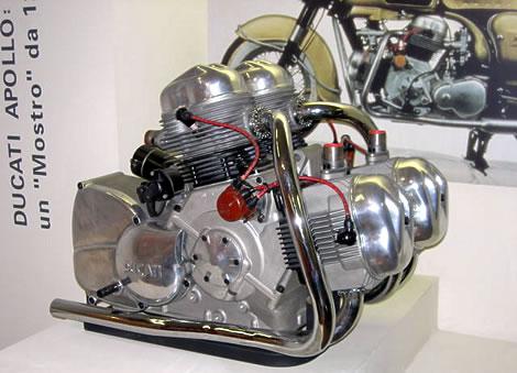 Ducati Apollo V4 The 1964 Ducati Berliner 1260 Apollo was a prototype 1,250 cc (76 cu in) V4 engine motorcycle producing 100 bhp (75 kW)