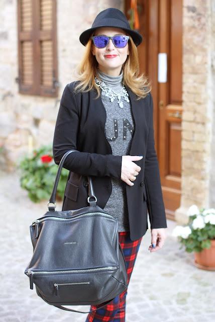 givenchy pandora bag, h&m fedora hat, zara plaid pants, fashion and cookies, fashion blogger