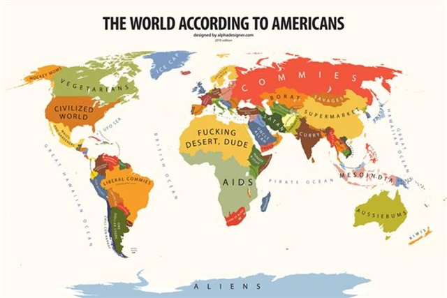 Map of The World According to Americans