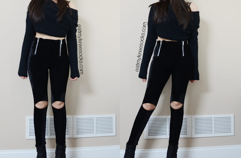 Grunge-rock all-black outfit featuring the UNIF Ish Pants dupe from SheInside, an off-shoulder sweater, and a Free People layering top.