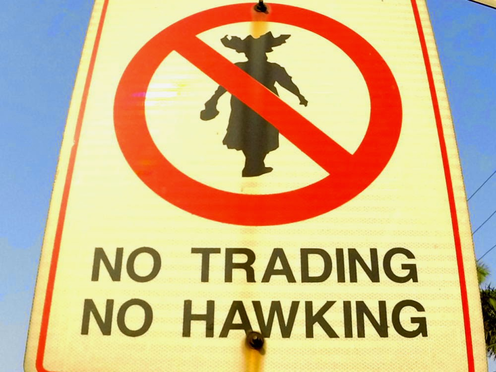 no hawking, no trading sign