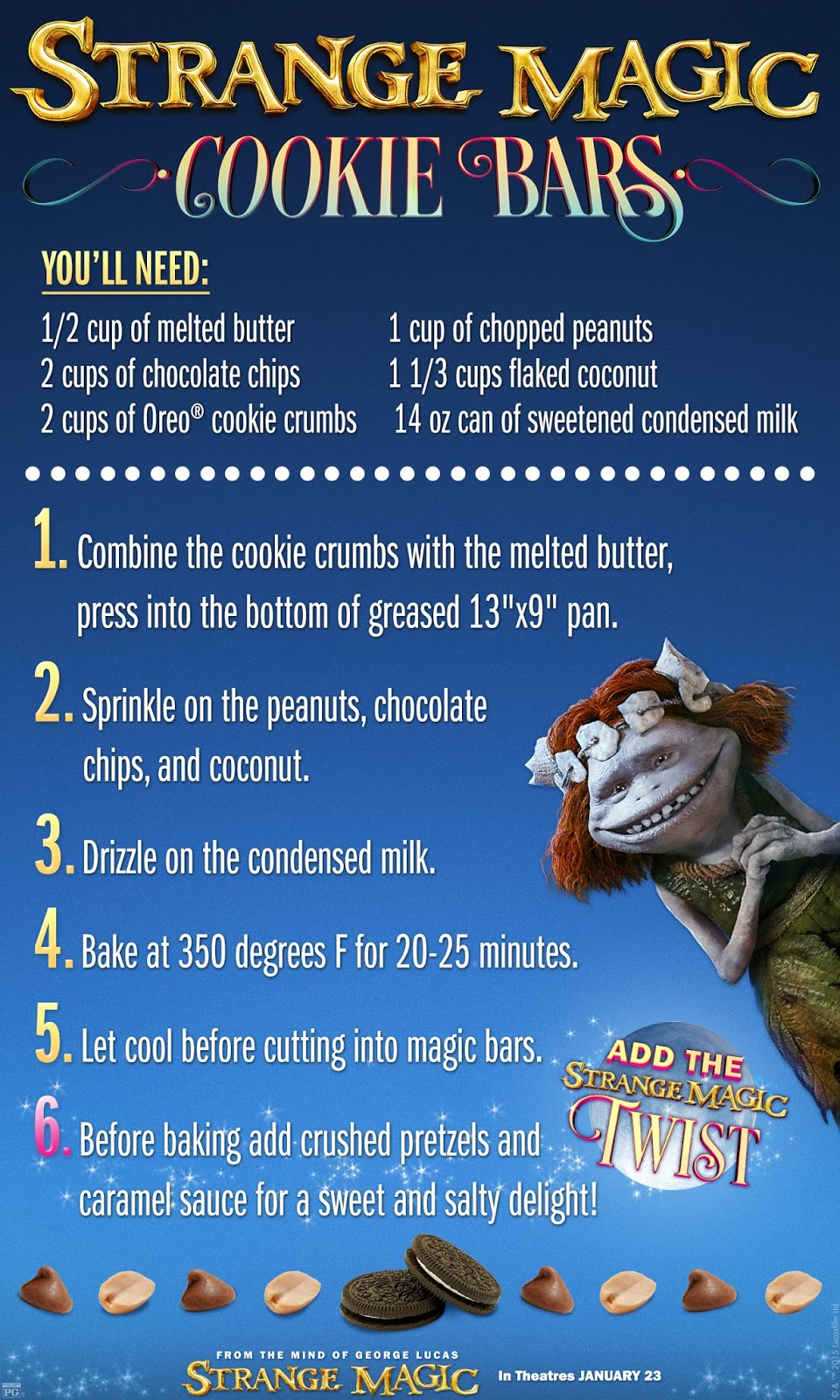 """Strange Magic"" Cookie Bars Recipe Card Focused on the Magic Foodie Friday"