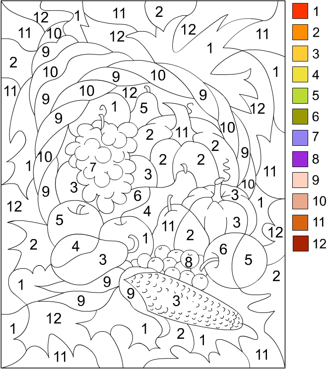 Colour By Number Turkey : Free number coloring pages