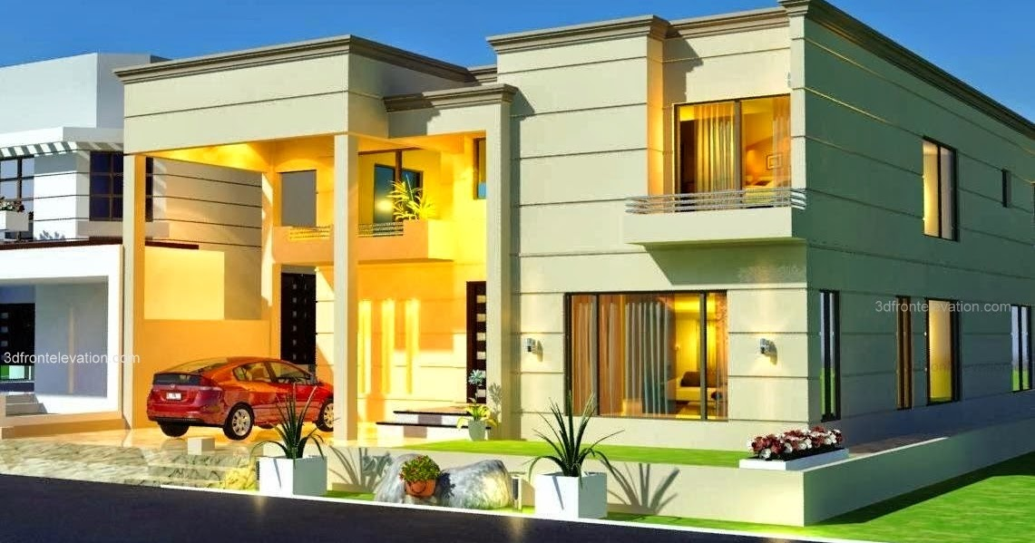 Front Elevation Of 2 Kanal Houses : D front elevation kanal house plan