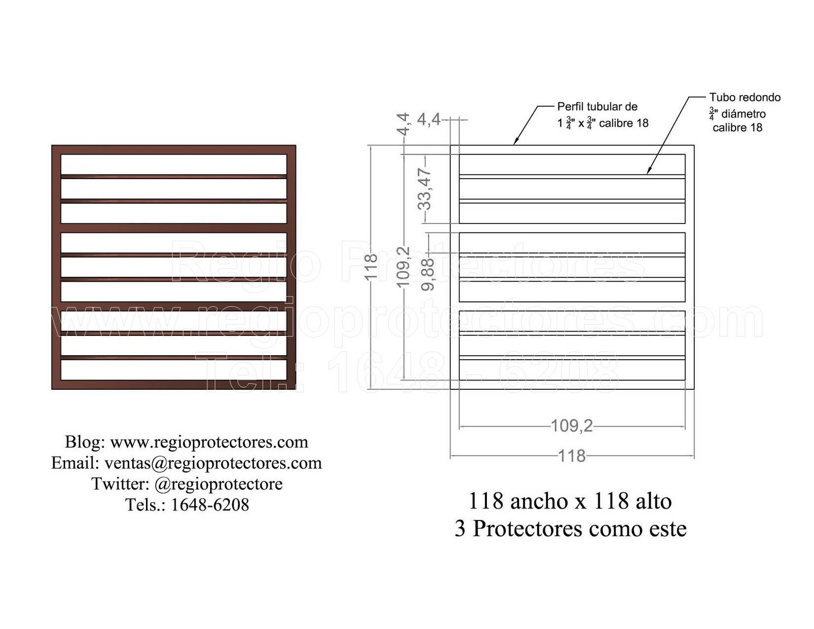 Diseño de protector para ventana contemporáneo, Col. Roma, Plano de